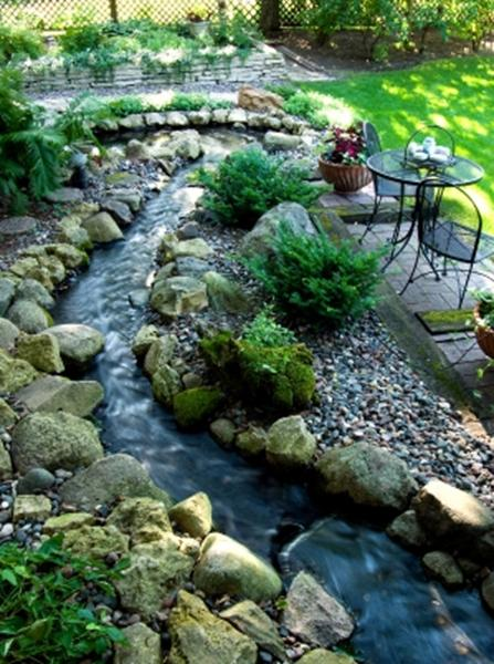 A picture of a small garden with a stream, lawn, planting and seating areas.
